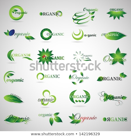 Eco green leaf logo template. Green leaves loop. Ecology icon. Stock photo © Fractal86