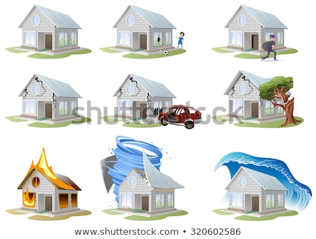 Home insurance. Property insurance. Big set house insurance stock photo © orensila
