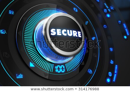 Biztonságos fekete irányítás konzol kék háttérvilágítás Stock fotó © tashatuvango