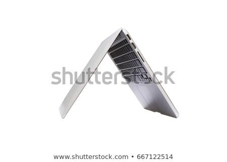 Foto d'archivio: Laptop · metà · chiuso · metal · computer · web