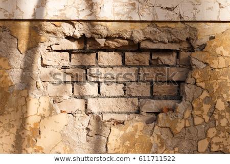 Homlokzat fal keresztmetszet tégla kockák ablak Stock fotó © lunamarina