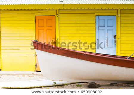 Stockfoto: Caribbean · zand · strand · tropische · huizen · Mexico