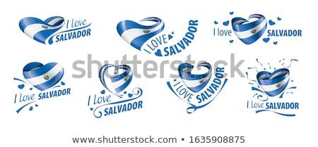Amor El Salvador assinar isolado branco coração Foto stock © MikhailMishchenko