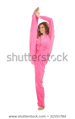 Girl in pink clothes holds leg vertically upwards Stock photo © Paha_L