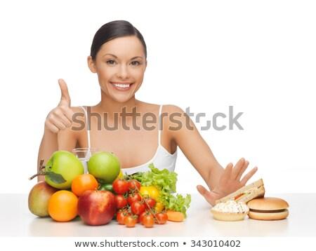 Gyönyörű kövér nő mutat hüvelykujj felfelé Stock fotó © deandrobot