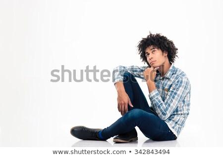 沈痛 アフロ アメリカン 男 座って 階 ストックフォト © deandrobot