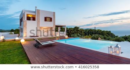 luxuoso · garfo · grande · piscina · branco · água - foto stock © jrstock