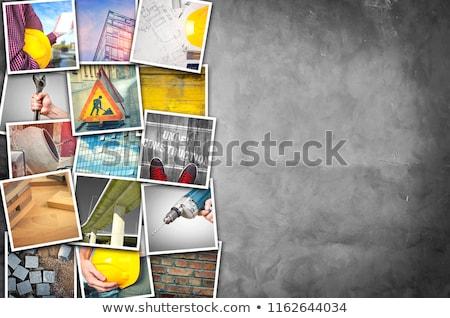 építőipar fotó kollázs egymásra pakolva képek cement Stock fotó © stevanovicigor