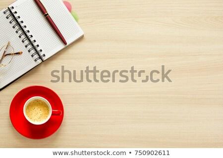 красный чашку кофе визитной карточкой таблице свет деревянный стол Сток-фото © viperfzk
