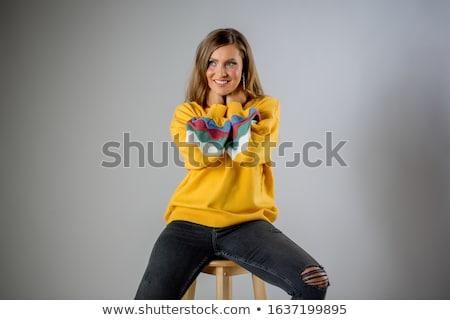 красивая женщина желтый блузка изолированный белый женщину Сток-фото © Elnur