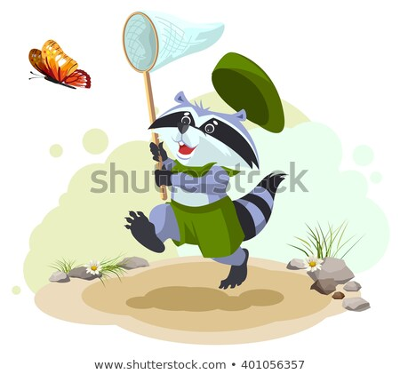 Scout raccoon butterfly catches. Entomologist with butterfly net. Summer leisure Stock photo © orensila