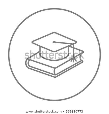 érettségi sapka fektet könyv vonal ikon Stock fotó © RAStudio
