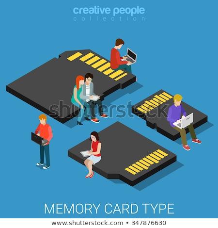 set memory card vector illustration stock photo © kup1984