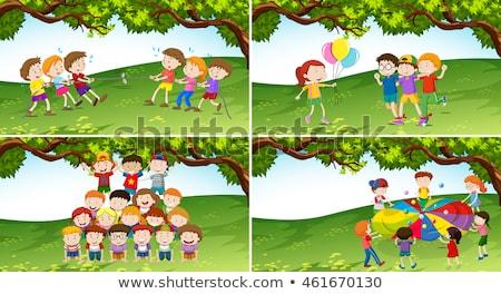 gyerekek · játszik · háború · park · illusztráció · lány - stock fotó © bluering