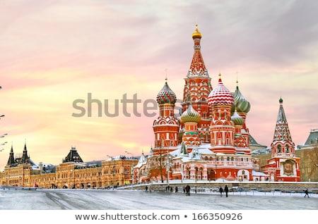 vermelho · praça · torres · russo · céu · urbano - foto stock © simply