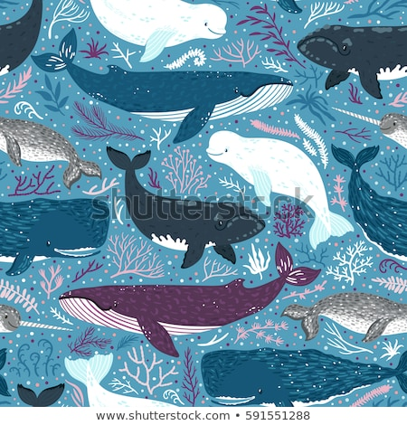Seamless pattern of cute ocean animal doodles Stock photo © adrian_n