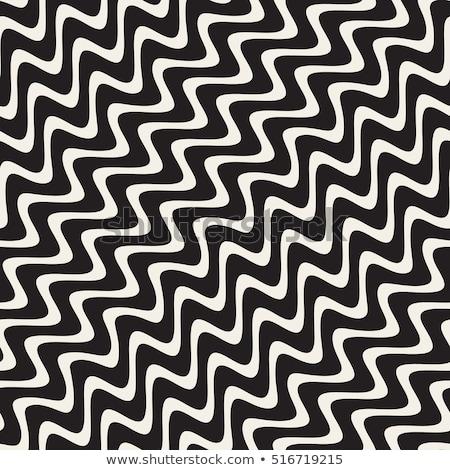 Vector naadloos zwart wit golvend diagonaal Stockfoto © CreatorsClub