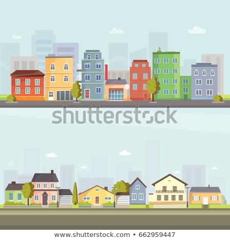 city street, flat design, housing, neighborhood. vector illustration Stock photo © lucia_fox