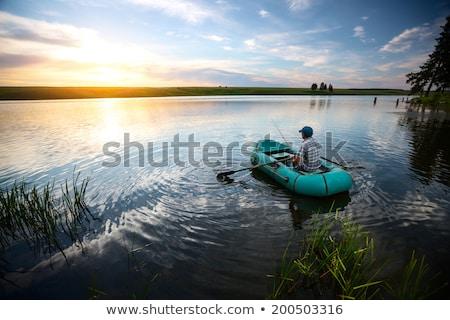 удочка закат озеро пляж воды Сток-фото © alex_grichenko