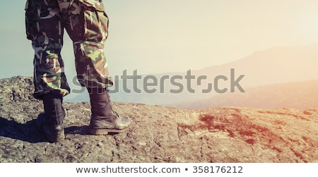 Soldier portrait. Military in green beret. Special forces Stock photo © popaukropa