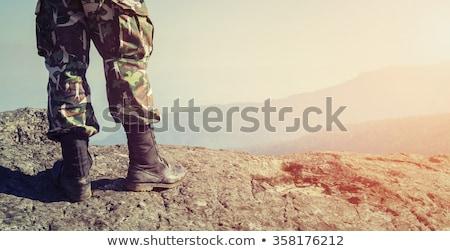 兵士 肖像 軍事 緑 ベレー帽 特別 ストックフォト © popaukropa
