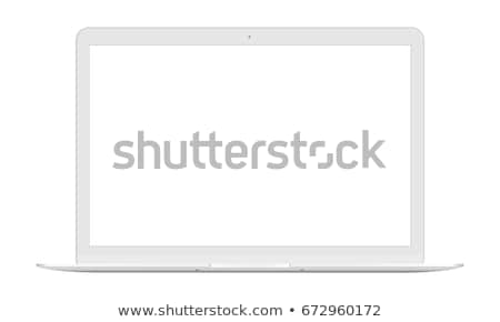 laptop isolated on white with blank display   front view stock photo © kayros