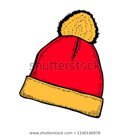 Winter Knitted Red Hat Head Covering. Vector Stock photo © robuart