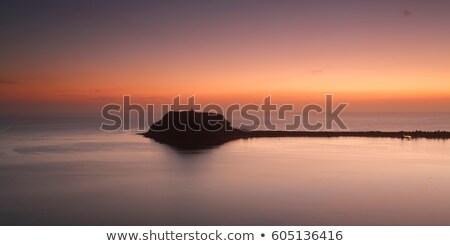 Pálma tengerpart festői napfelkelte panoráma hajnal Stock fotó © lovleah