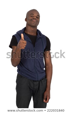 handsome young african man dressed in shirt with thumbs up stock photo © deandrobot