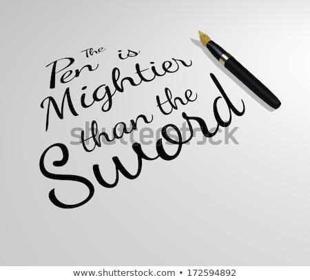 pluma · espada · blanco · papel · negro · dibujo - foto stock © albund