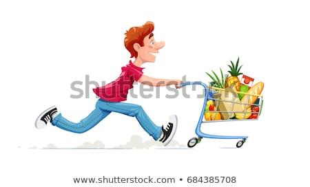 Man running in hurry to the store on sale. Stock photo © RAStudio