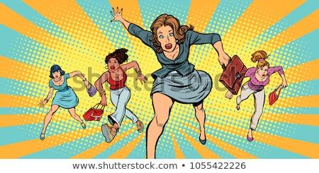 Mujer ejecutando prisa tienda venta grande Foto stock © RAStudio