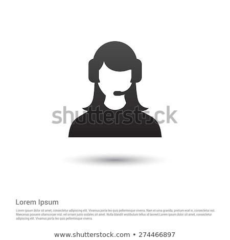 Homme centre d'appel opérateur icône casque vecteur Photo stock © NikoDzhi