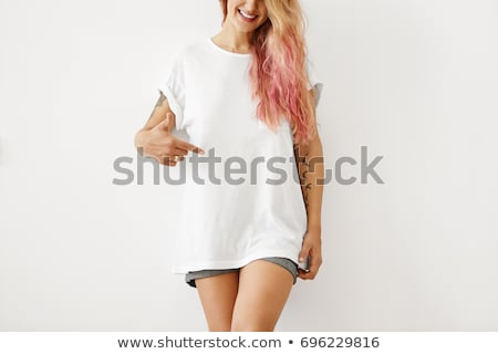 портрет · Cute · улыбаясь · девушки · белый · футболки - Сток-фото © julenochek