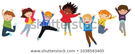desenho · animado · menino · saltando · feliz · alegria - foto stock © krisdog