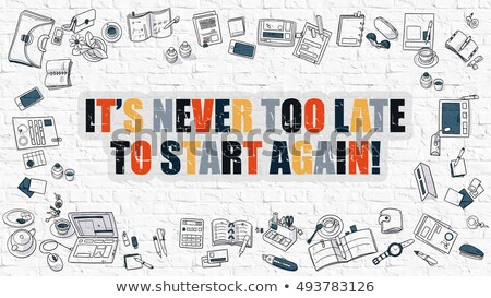 Nooit laat start witte doodle iconen Stockfoto © tashatuvango