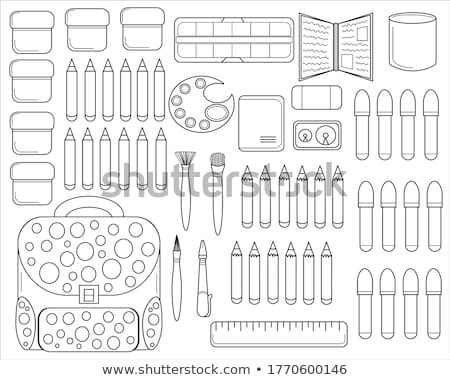 coloring book page back to school set marker pencils sharpener eraser sketch outline and color stock photo © lucia_fox