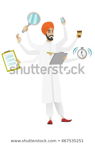 hindu businessman coping with multitasking stock photo © rastudio