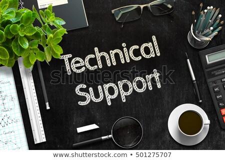 Stock fotó: Fekete · tábla · technikai · támogatás · 3D · renderelt · kép · szöveg