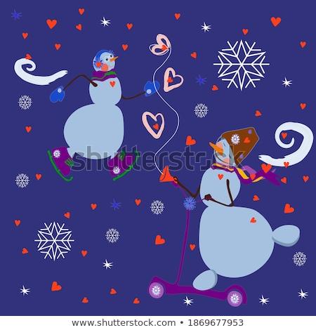 женщину снеговик зима портрет Hat Сток-фото © IS2