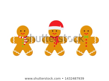 Illusztráció mézeskalács ember vektor karácsony vízfesték süti Stock fotó © Sonya_illustrations