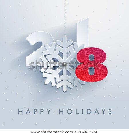 vector merry christmas party design with holiday typography elements and snowflakes with long shadow stock photo © articular