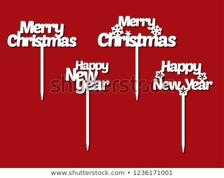 vector christmas and new year illustration with typography and cutout paper stars on red background stock photo © articular