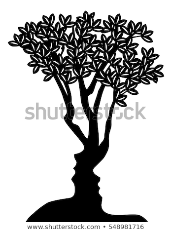 Optische Täuschung Baum Gesichter Mann Gesicht Design Stock foto © Krisdog