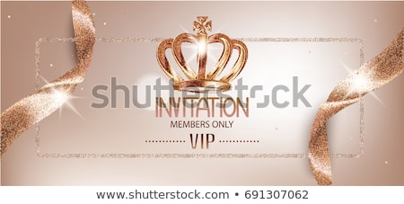 invitation card with gold holiday ribbon on vintage background stock photo © fresh_5265954