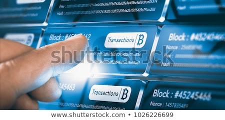 Bitcoin wydobycie niebieski kodu Internetu finansowych Zdjęcia stock © romvo
