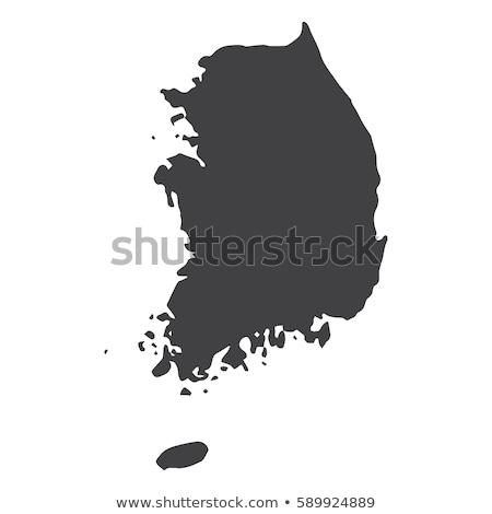 Harita Güney Kore arka plan hat vektör Stok fotoğraf © rbiedermann