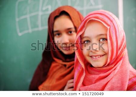 Kid meisje moslim boord illustratie Stockfoto © lenm