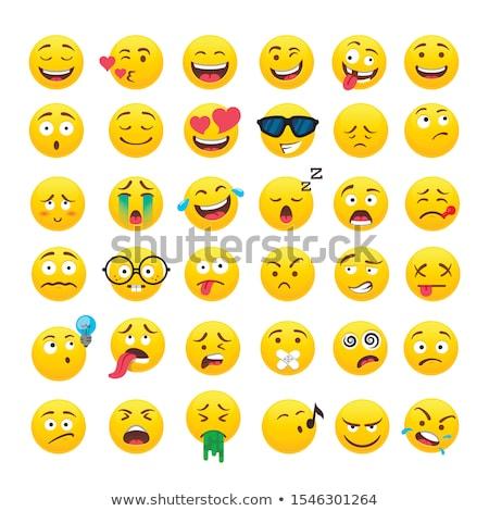 set of cute emoticons stickers emoji design isolated on white background stock photo © ikopylov