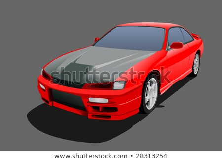 Red muscle car without wheel stock photo © studioworkstock